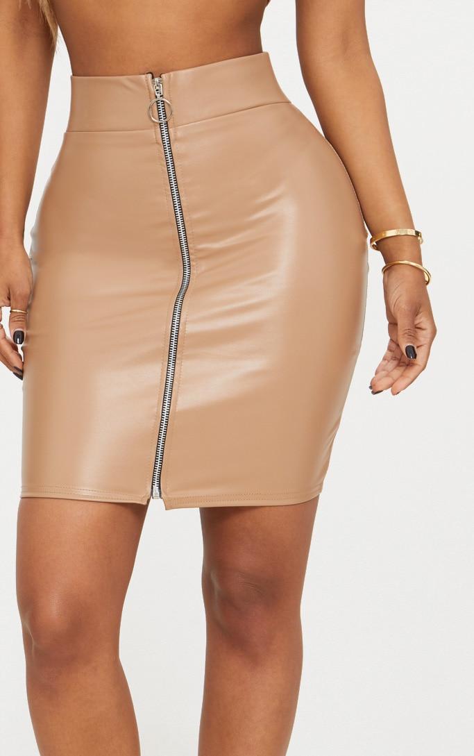 Shape Stone Zip Front PU Mini Skirt 5