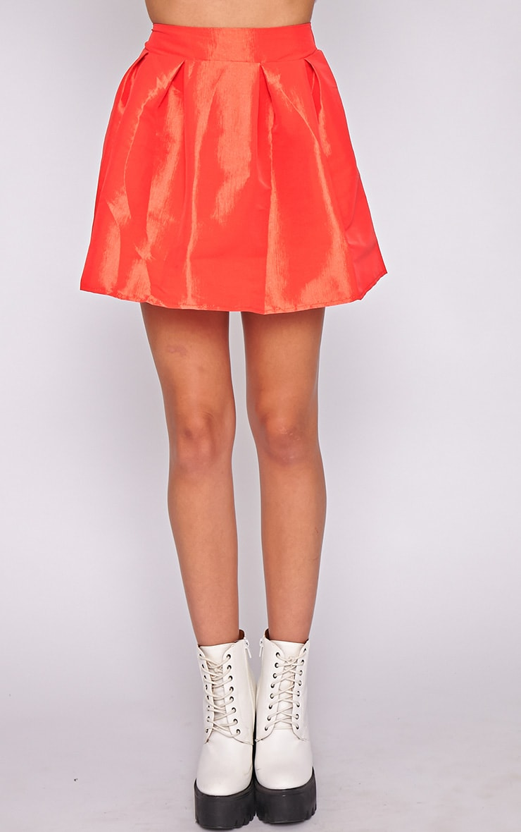 Jemima Red Structured Skater Skirt  2
