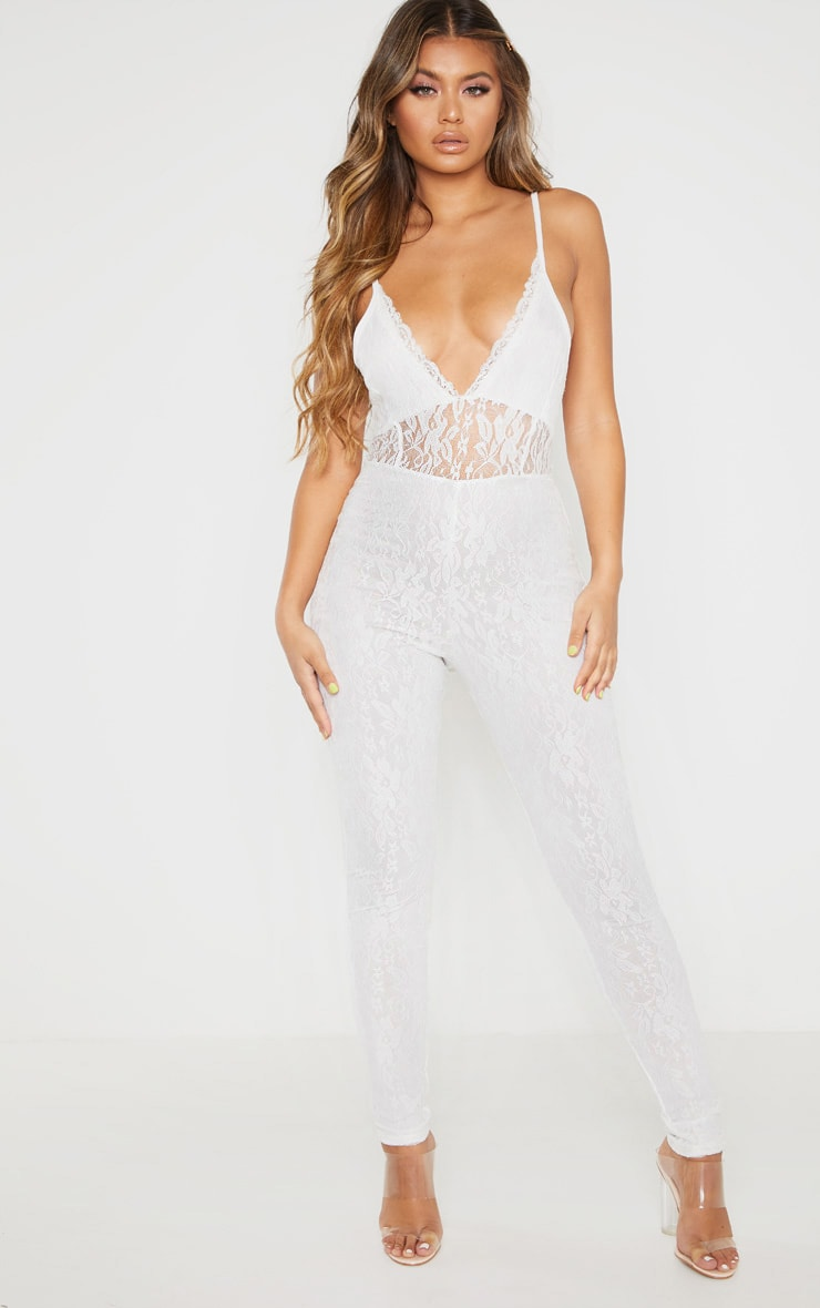 White Strappy Lace Jumpsuit 1