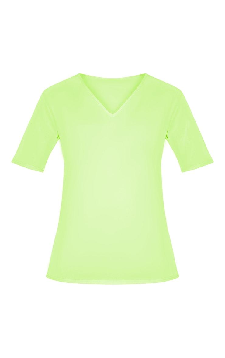 Tall Neon Lime Basic V Neck T Shirt 3