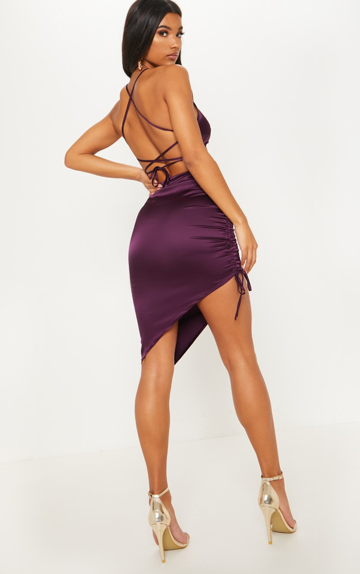 Plum Satin Ruched Lace Up Back Midi Dress
