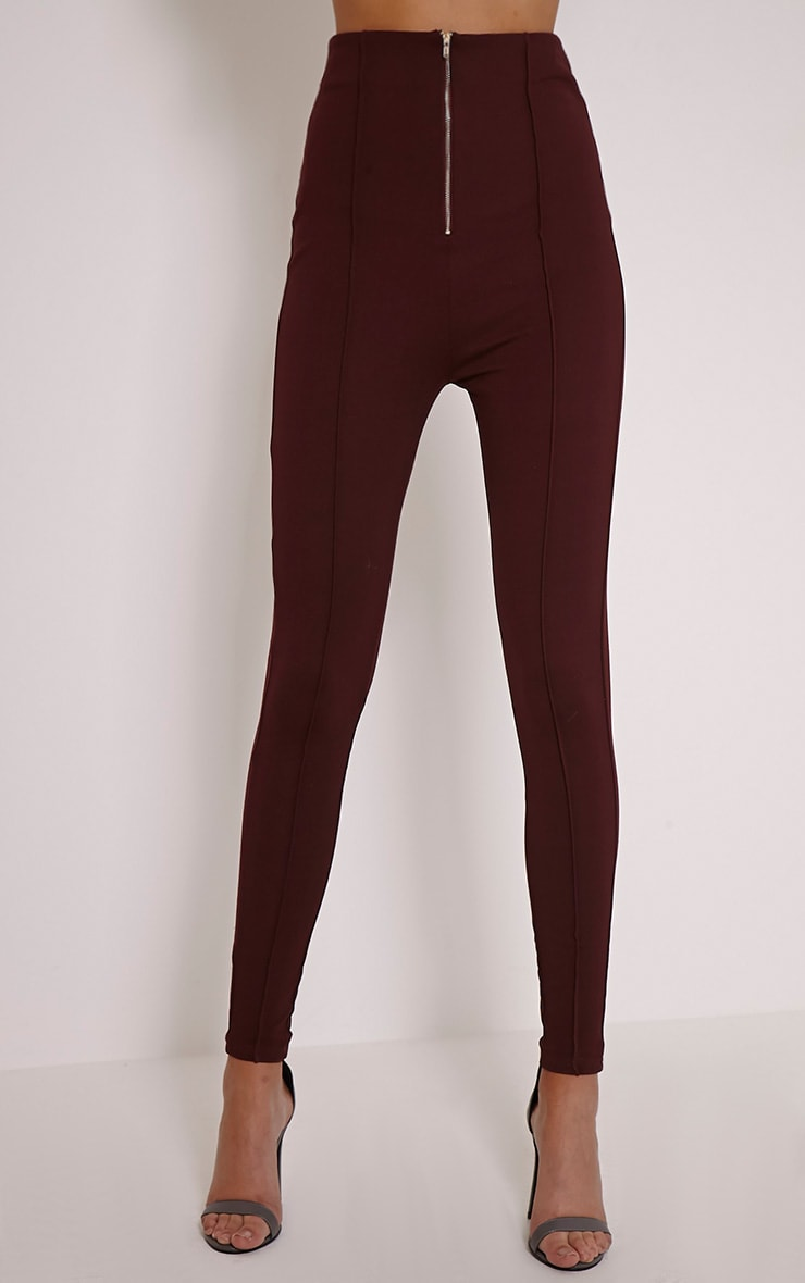 Aliza Plum High Waisted Zip Front Cigarette Trousers 2