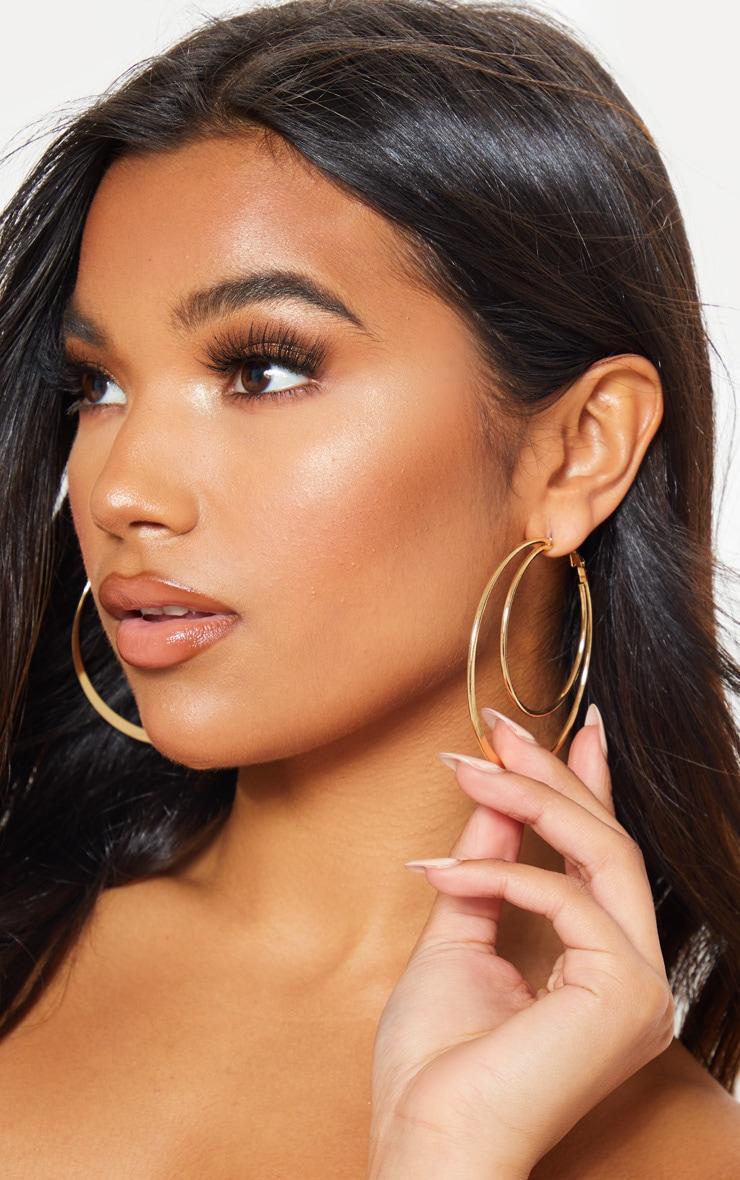 Gold Double Hoop Earrings 1