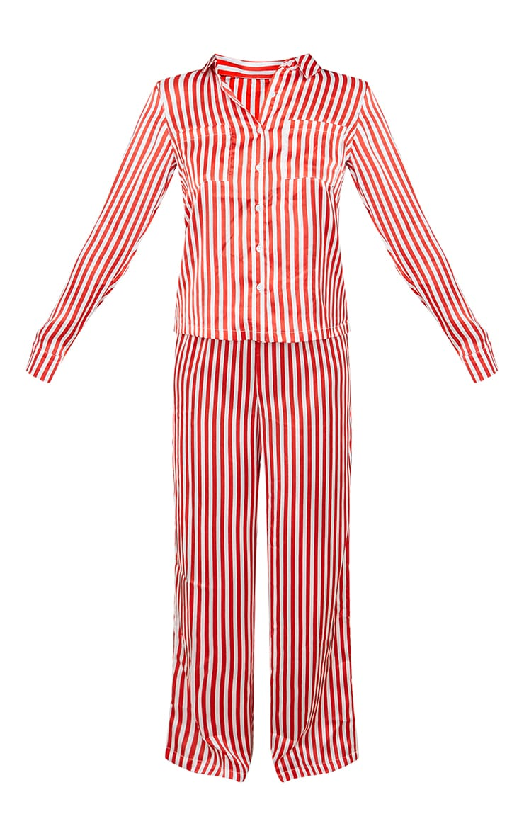 Red & White Stripe Satin Long Leg PJ Set 5