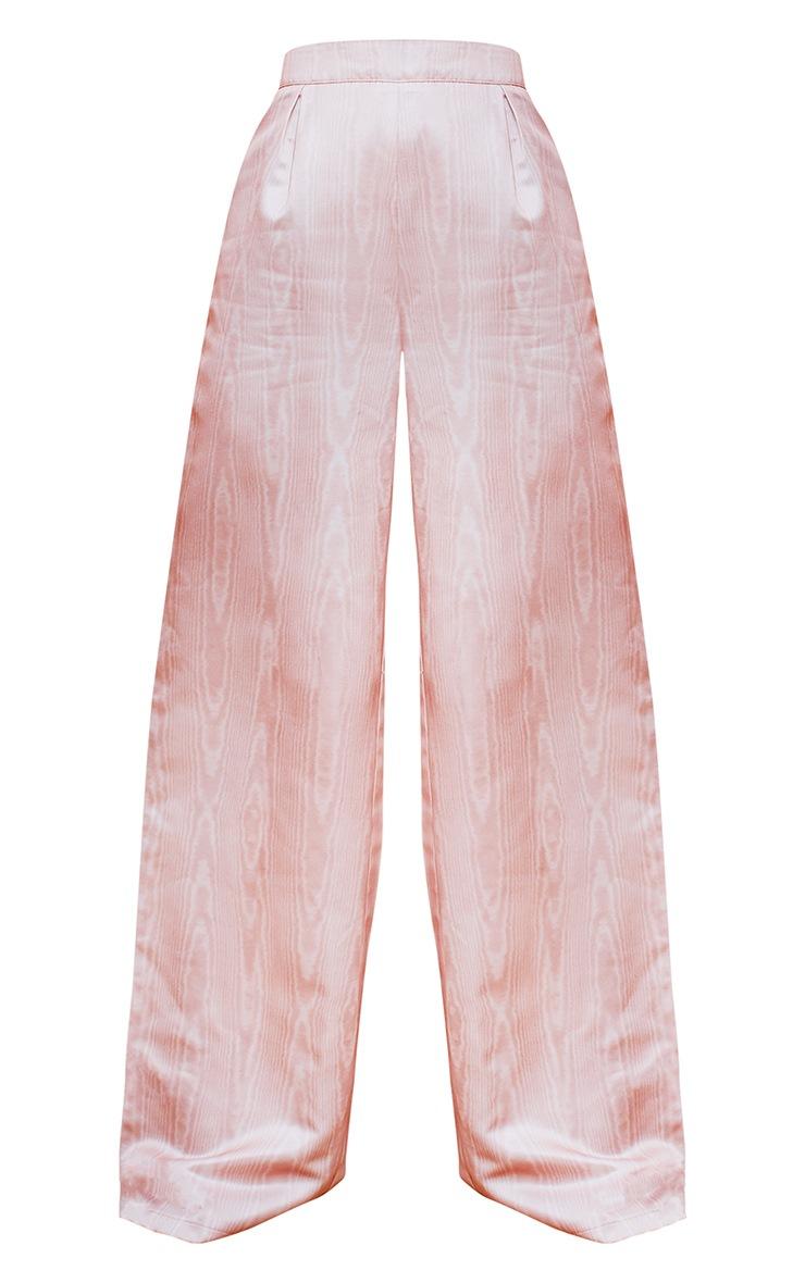 Peach Satin Printed Wide Leg Trousers 5