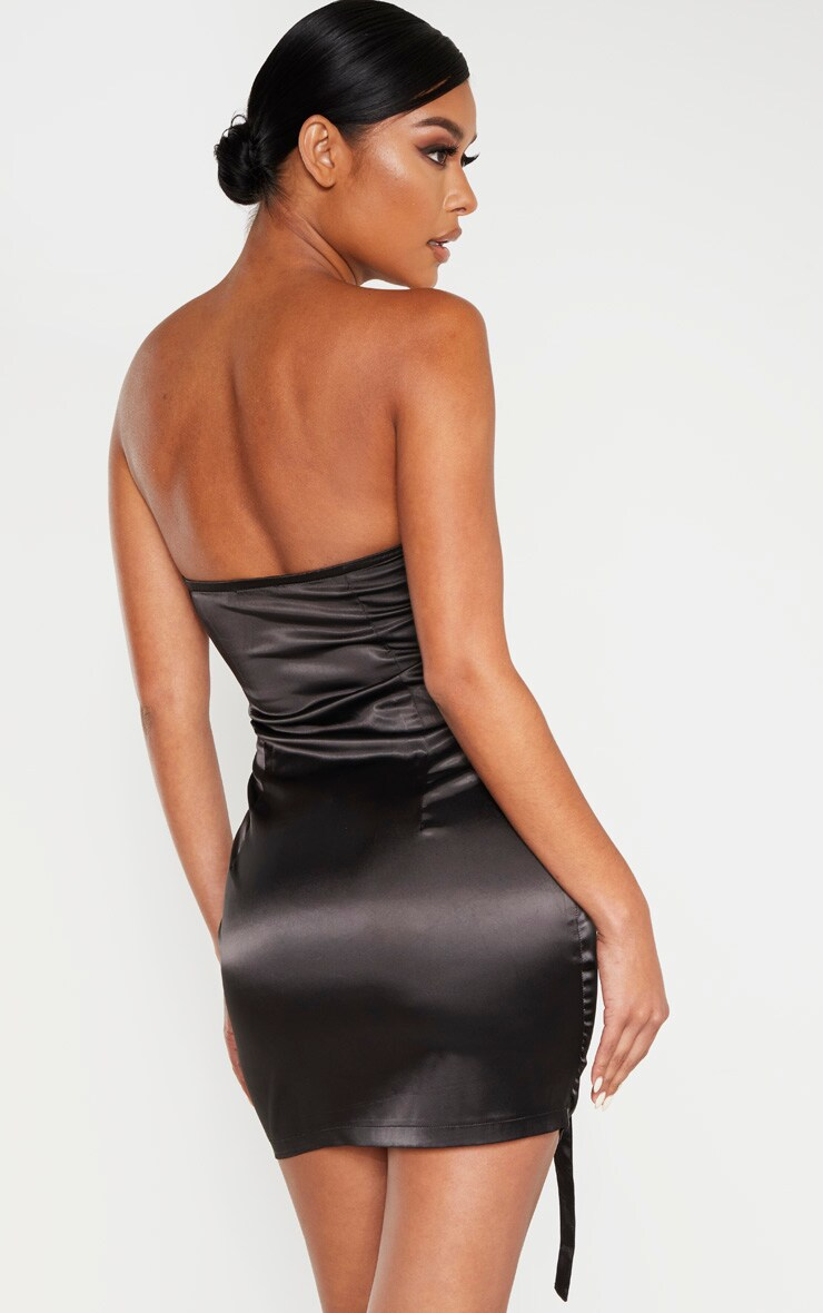 Black Bandeau Hook & Eye Corset Detail Bodycon Dress 2