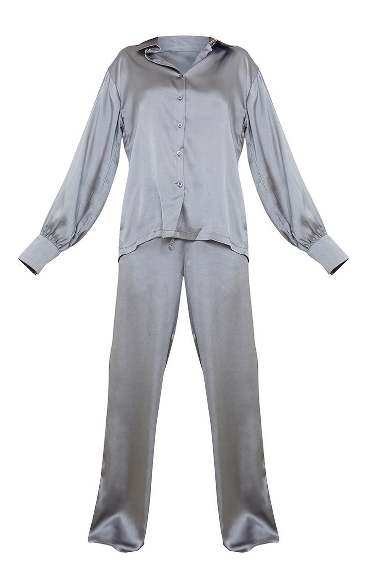 Charcoal Grey Oversized Long Satin PJ Set 5