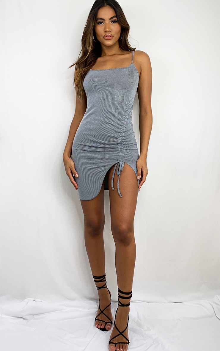 Grey Ribbed Strappy Ruched Bodycon Dress 3