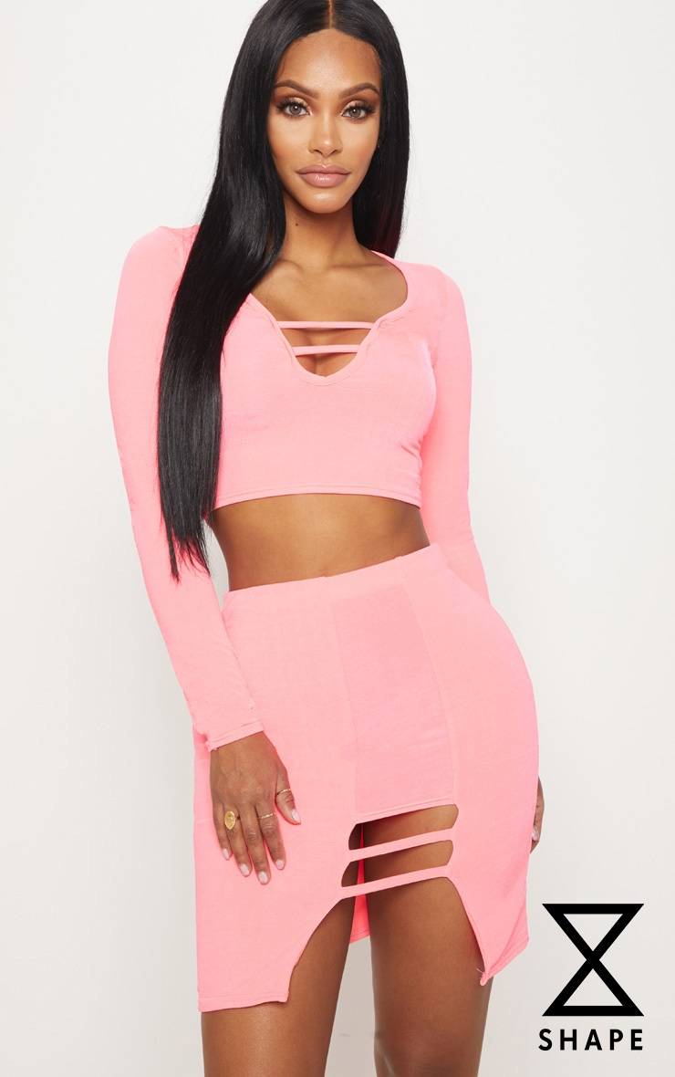 Shape Neon CoralSlinky Long Sleeve Cut Out Detail Crop Top 1