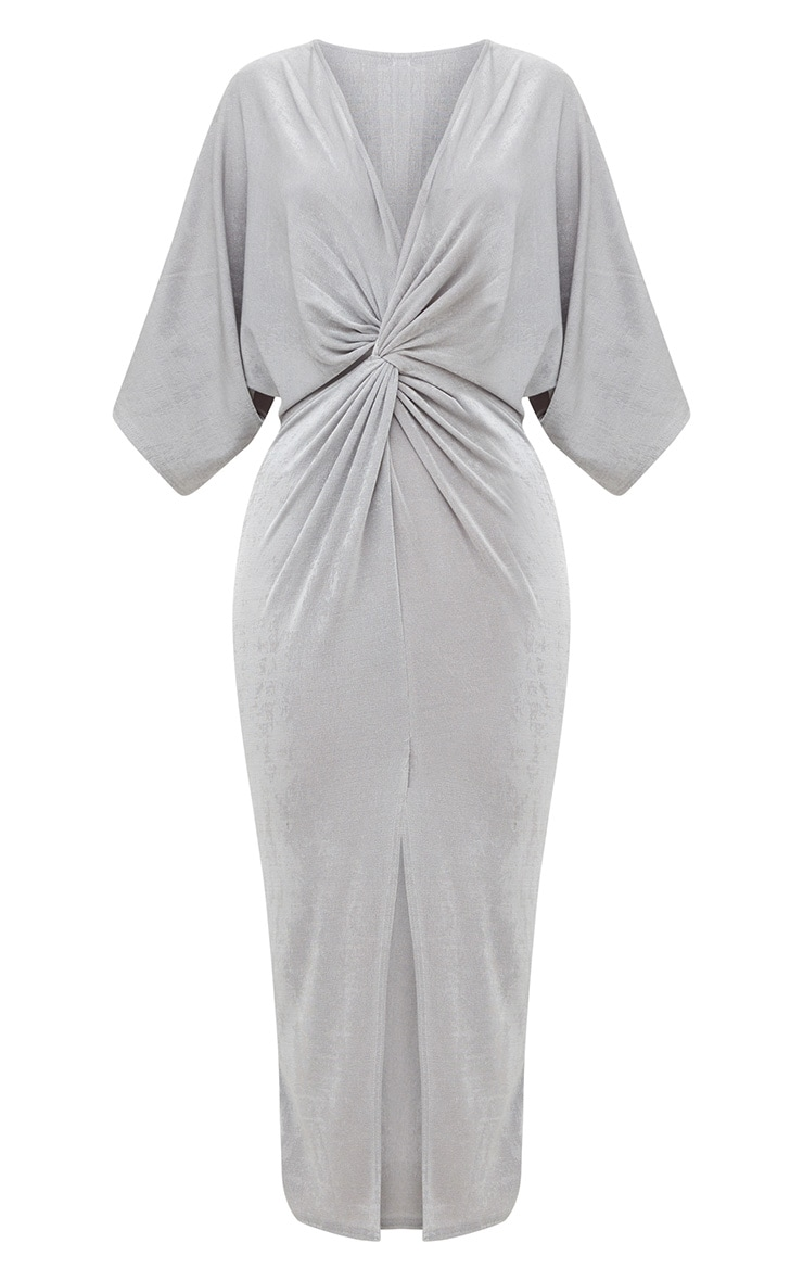 Ice Grey Slinky Twist Front Kimono Sleeve Midi Dress 3