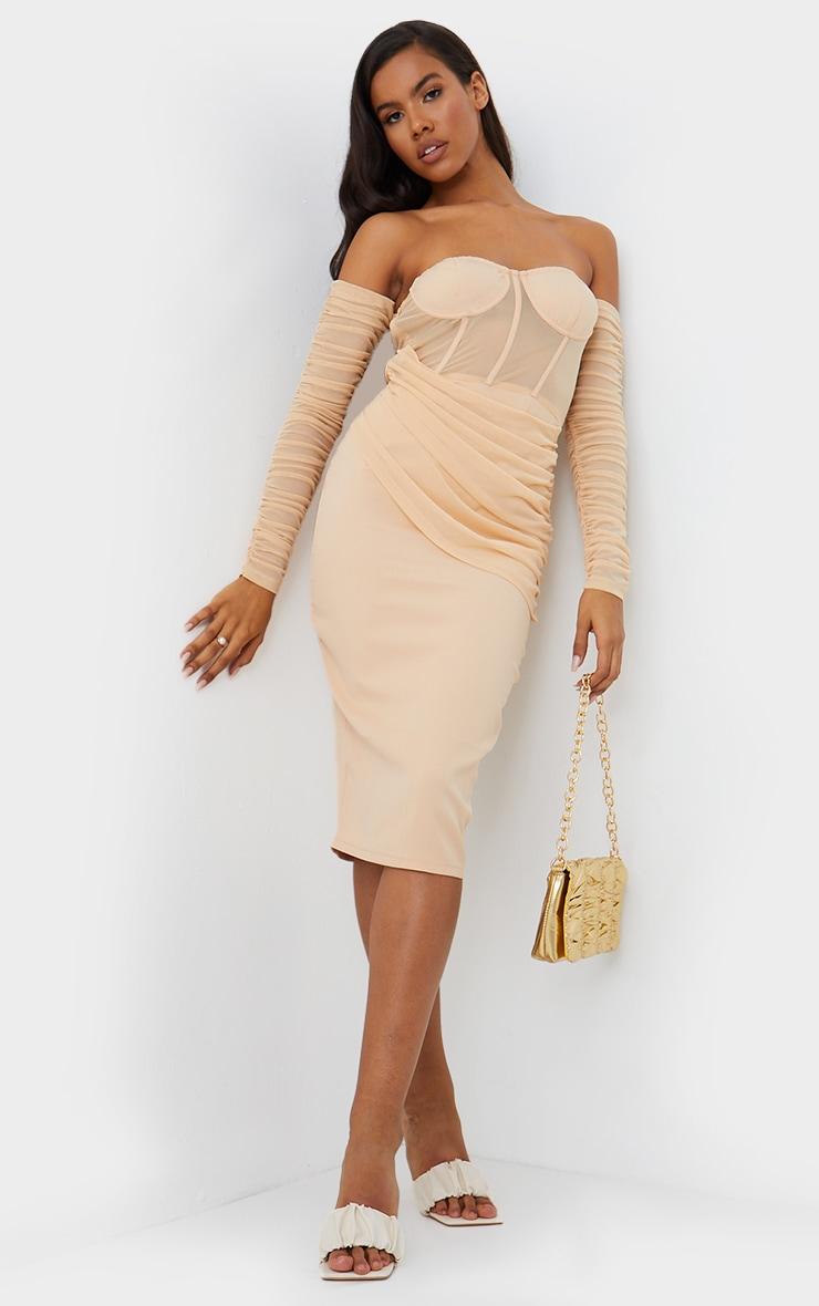 Nude Mesh Drape Corset Detail Bardot Midi Dress 1