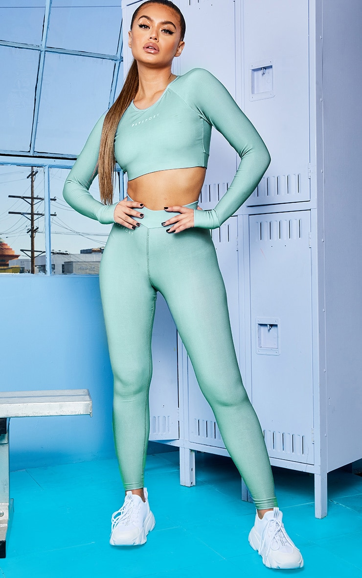 Sage Green Elasticated Long Sleeve Cropped Gym Top 3