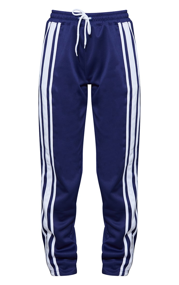 Navy Blue Tricot Wide Leg Joggers 5