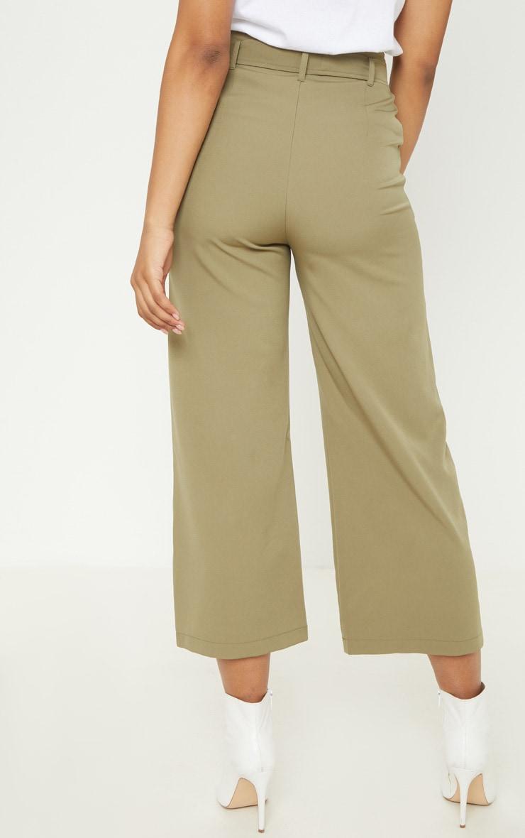 Tall Olive Green Woven Belt Detail Wide Leg Culotte 4