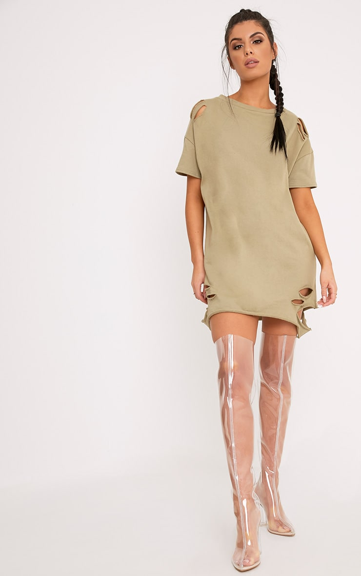 Orla Sage Green Distressed Short Sleeve Sweater Dress 4
