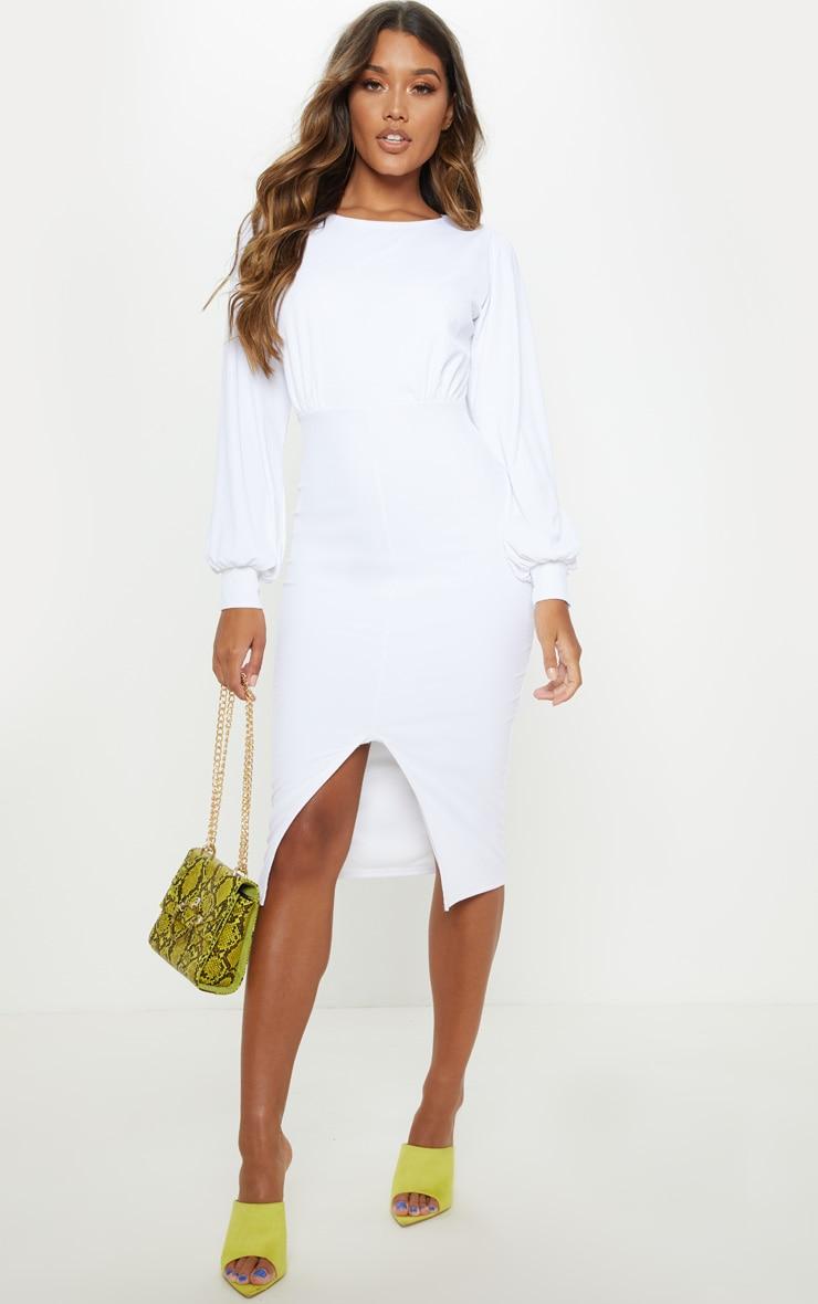 Robe mi-longue en maille fine blanche. Robes   PrettyLittleThing FR 7f7b002d62de