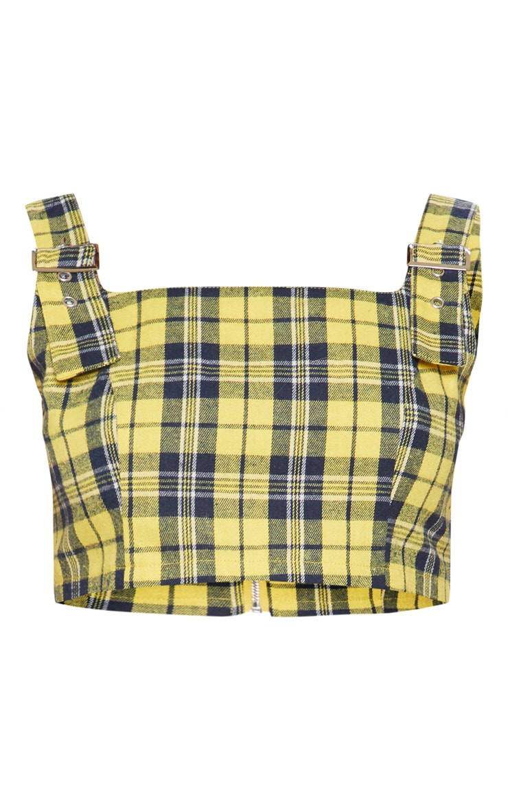 Mustard Buckle Strap Check Crop Top 3