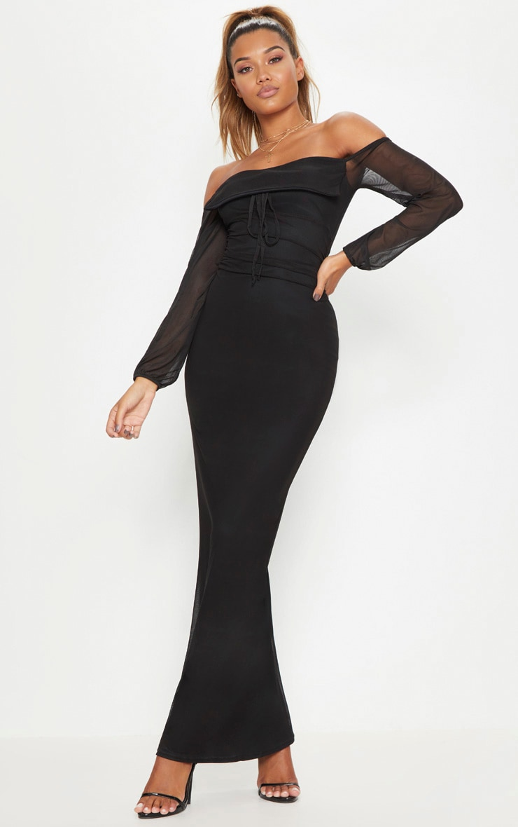 92622b717f Black Mesh Ruched Square Neck Maxi Dress image 1