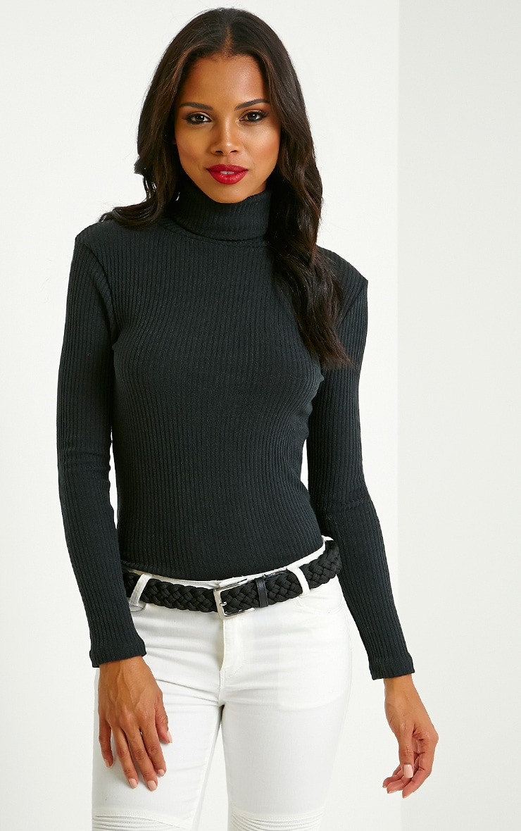 Rica Black Ribbed Roll Neck Top image 1 0e7e688b4
