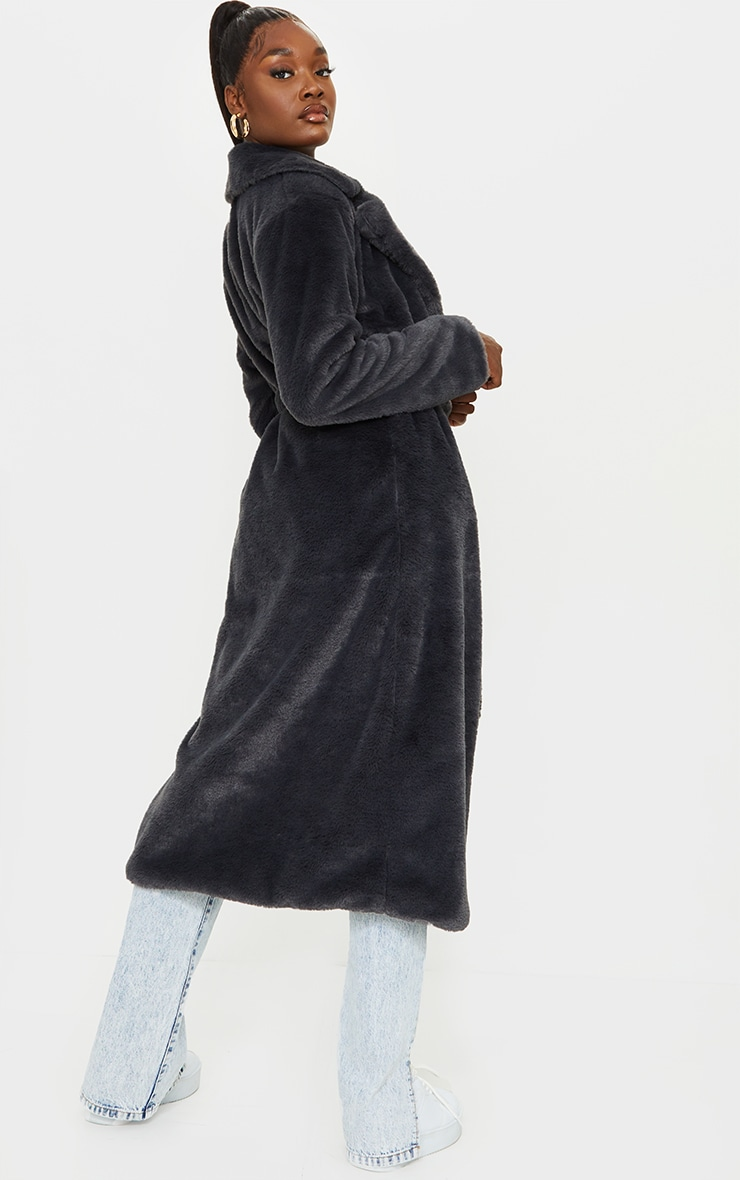 Tall Grey Belted Faux Fur Coat 2