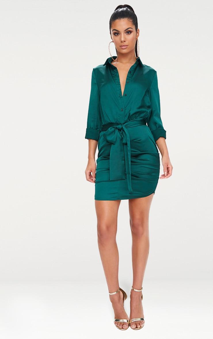 Emerald Green Ruched Front Shirt Dress 4