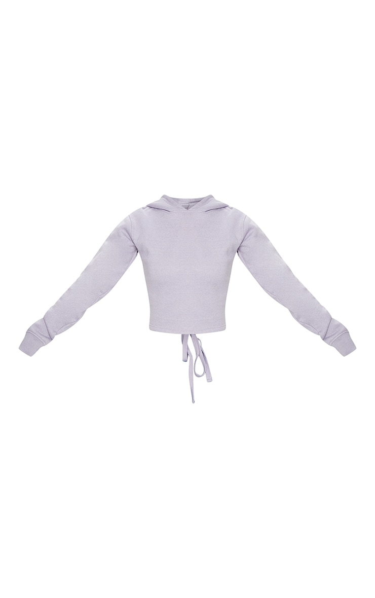 Lilac Grey Lace Up Back Crop Hoodie 5