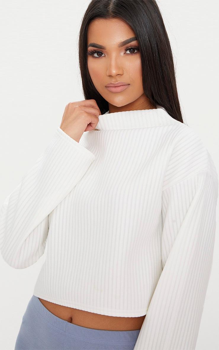 Cream Jumbo Rib High Neck Sweater 5