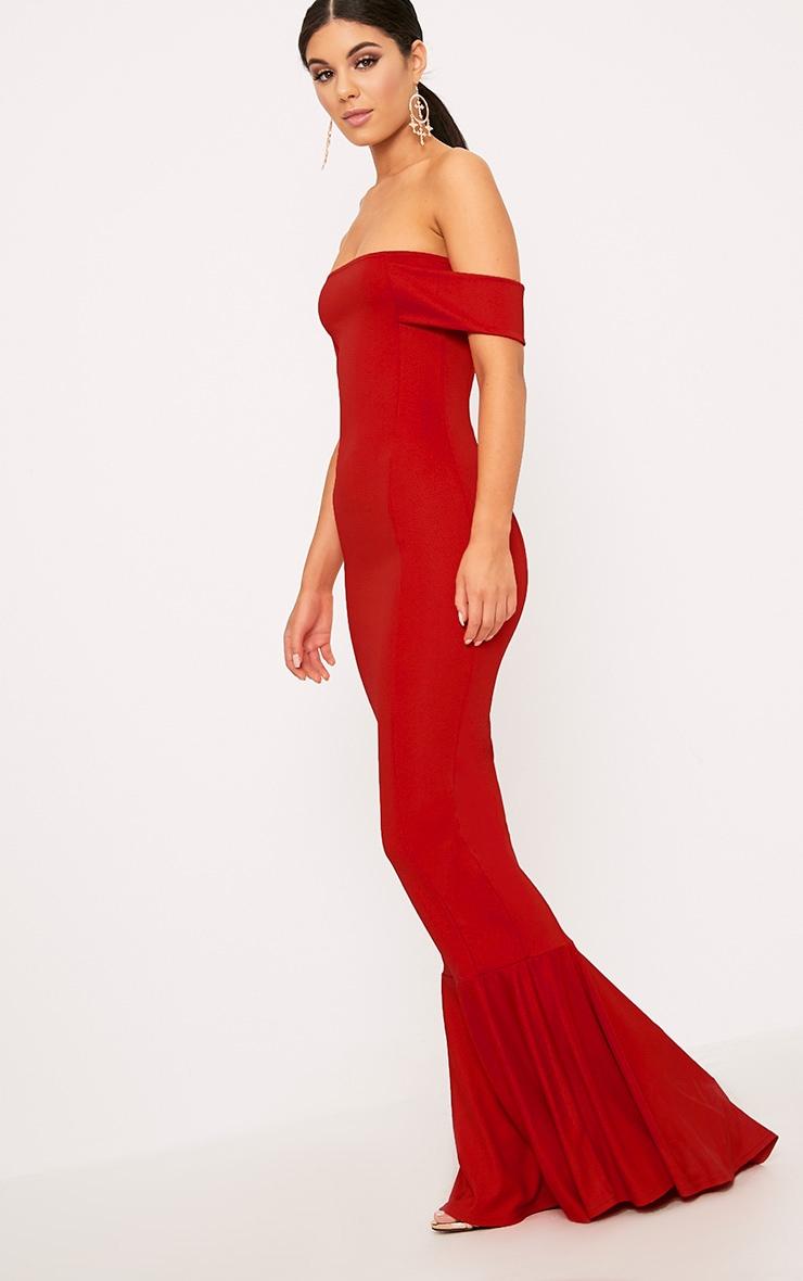 Red Bardot Frill Hem Maxi Dress 4