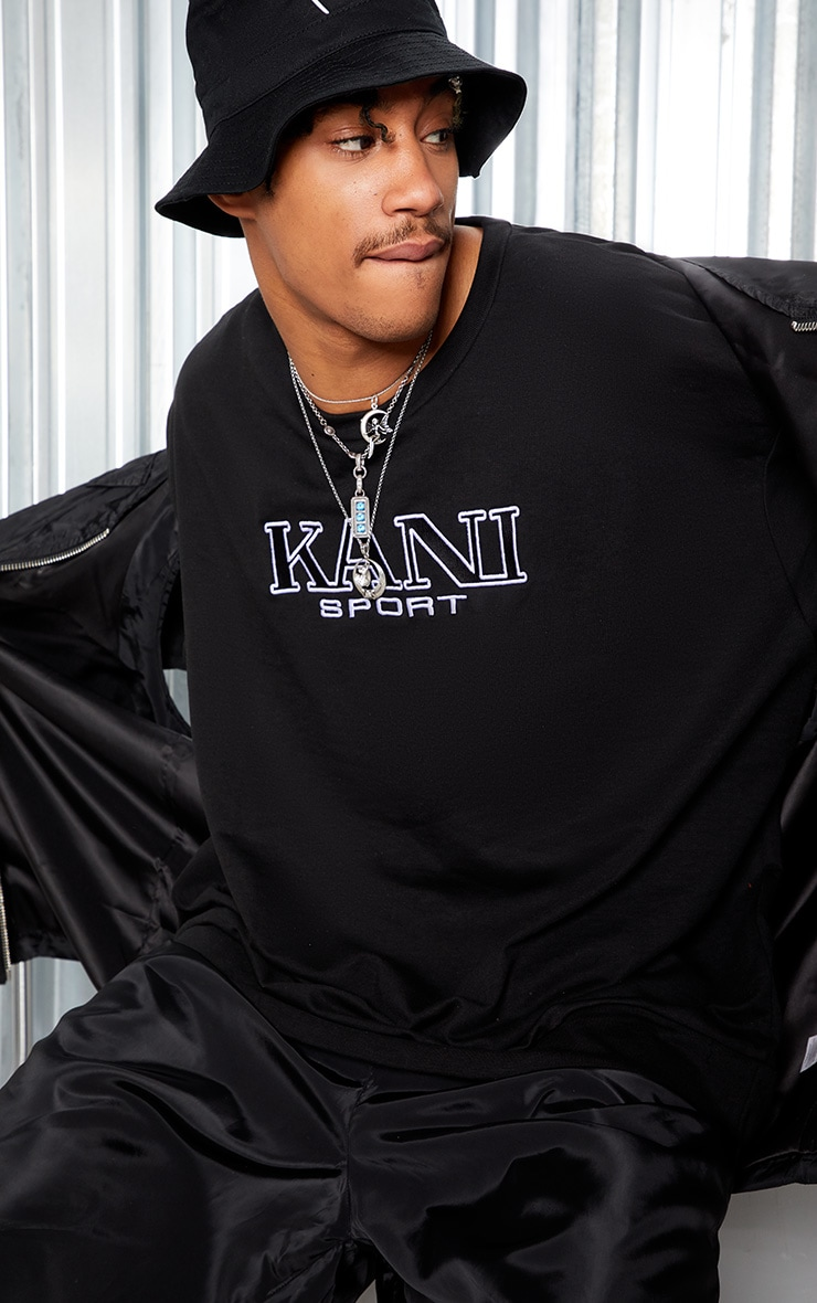 KARL KANI Black Embroidered Oversized Sweatshirt 2