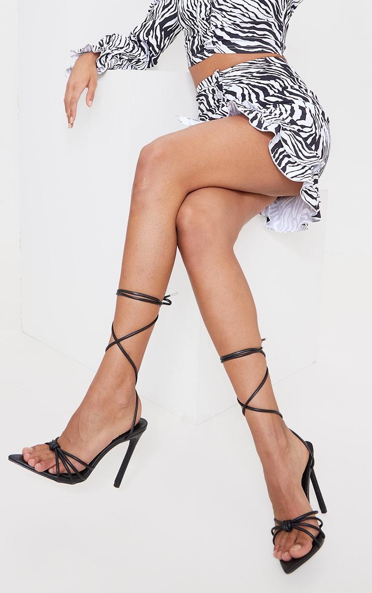 Black PU Knot Lace Up Heel Sandals 1