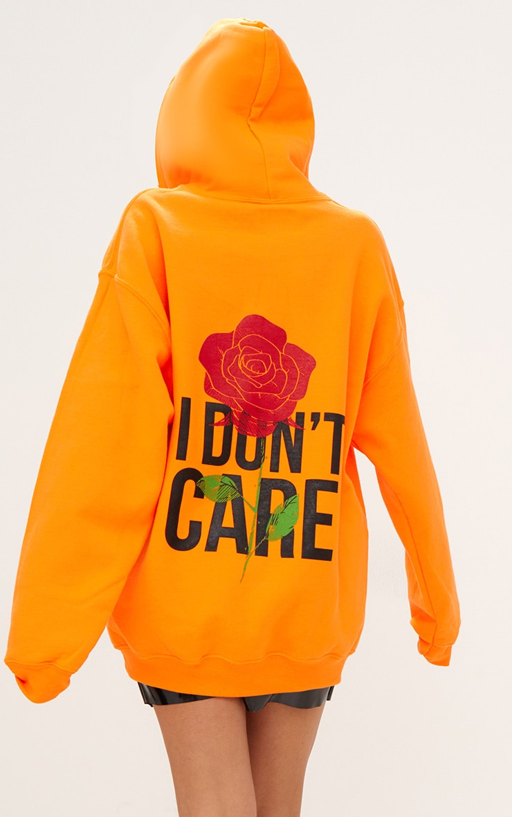 Orange I Don't Care Slogan Back Oversized Hoodie 1