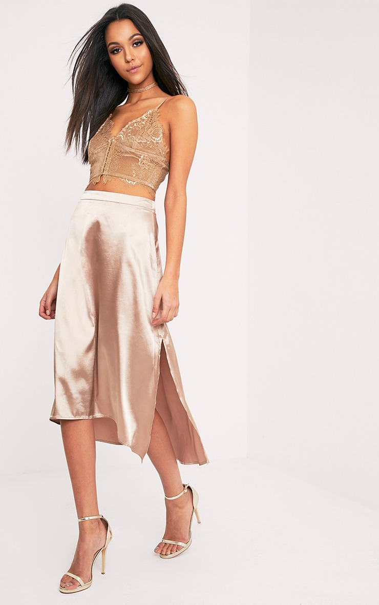 Ennia Champagne Satin Side Split Floaty Midi Skirt 1