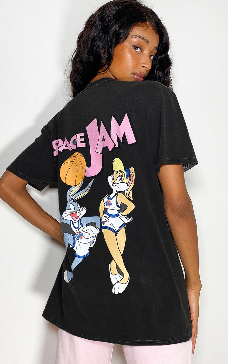 Black Space Jam Front And Back Print Washed T Shirt 2