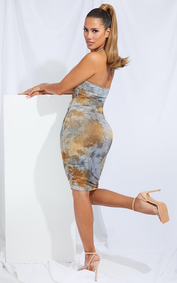 Shape Tan Tie Dye Rib Ruched Side Halterneck Bodycon Dress 2