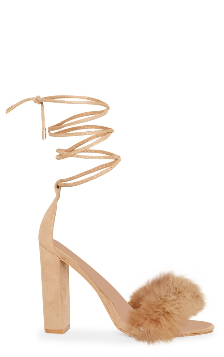 Nude Feather Strap Lace Up Block Heel 3