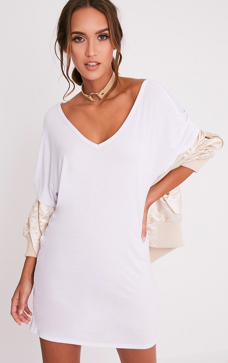 Basic White V Neck T Shirt Dress