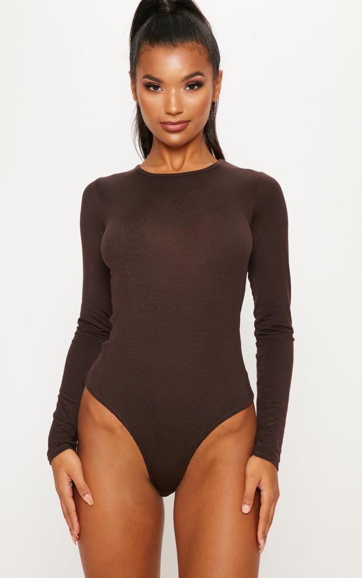 Body manches longues marron chocolat à encolure large 1