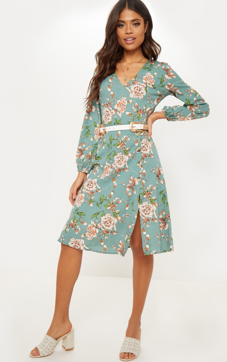 Sage Green Long Sleeve Floral Tea Dress