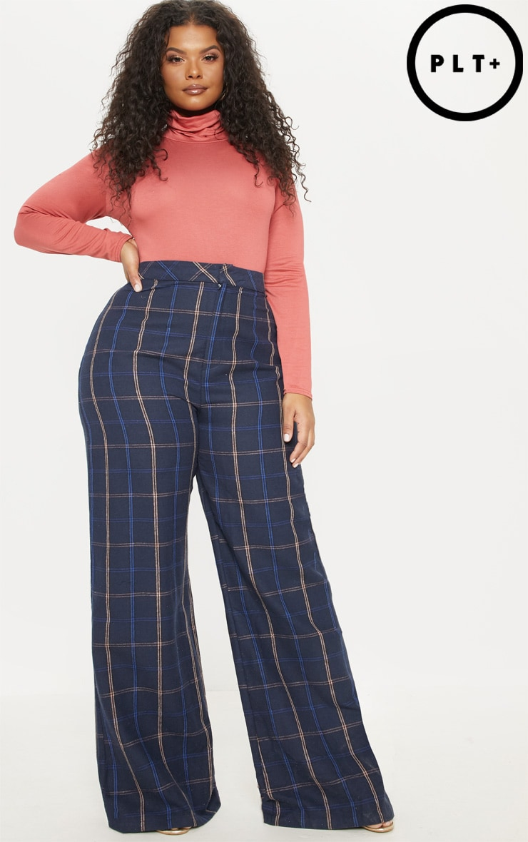 Plus Navy Check Wide Leg Trouser by Prettylittlething