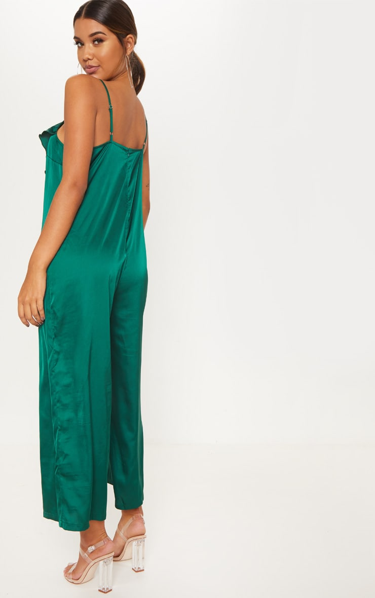 Emerald Green Satin Strappy Oversized Culotte Jumpsuit 2