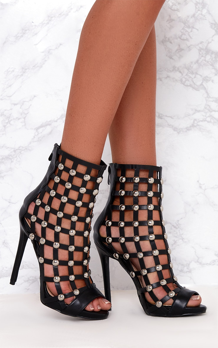 Black Dome Studded Heeled Ankle Boots 1
