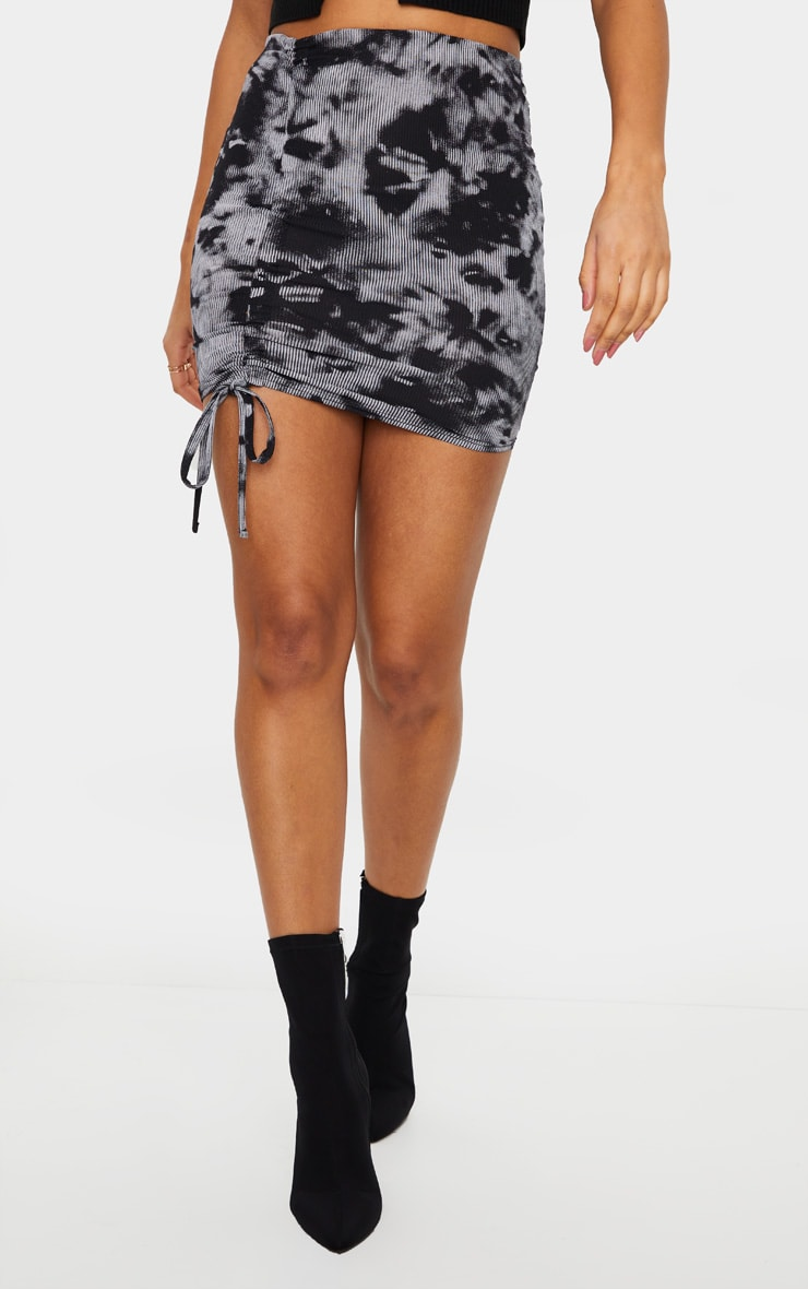 Black Tie Dye Rib Ruched Detail Mini Skirt 2