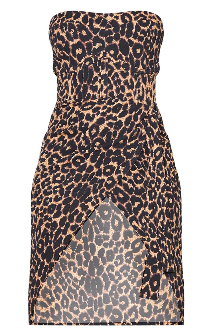 Brown Leopard Print Binding Detail Tie Wrap Bandeau Midi Dress 5
