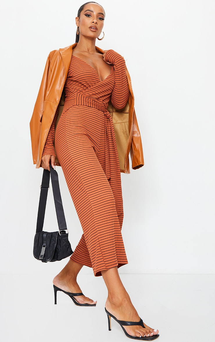 Rust Long Sleeved Striped Rib Wrap Culotte Jumpsuit 3