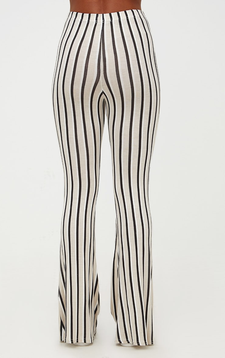Stone Jersey Pinstripe Flared Trousers 4