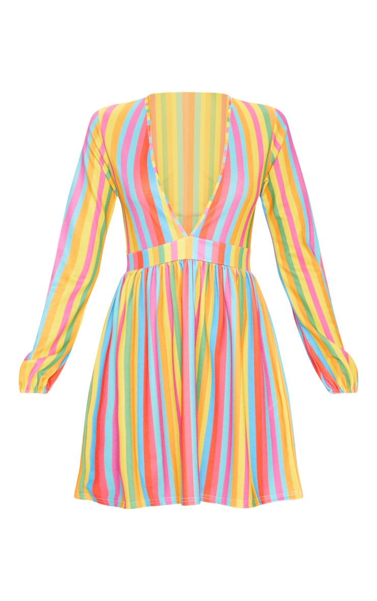 Multi Rainbow Stripe Plunge Balloon Sleeve Skater Dress 3