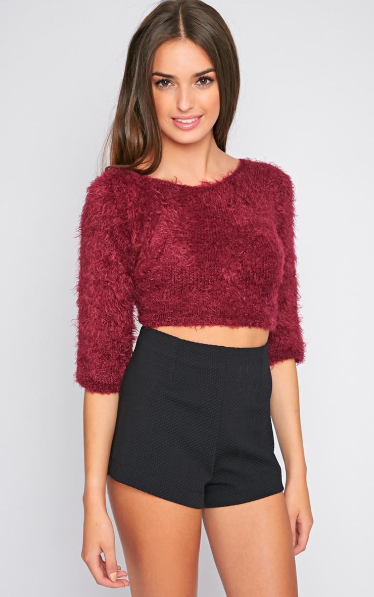 Jess Maroon Fluffy Style Sweater 3