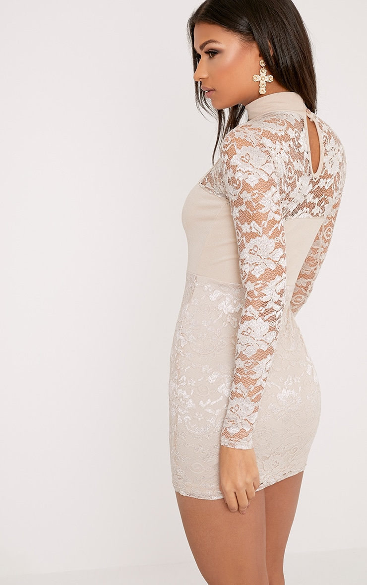Emelia Nude High Neck Lace Bodycon Dress 2