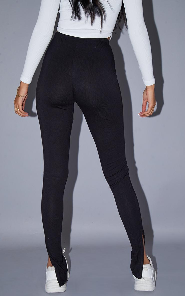 Tall - Legging basique noir en jersey à ourlet fendu 3