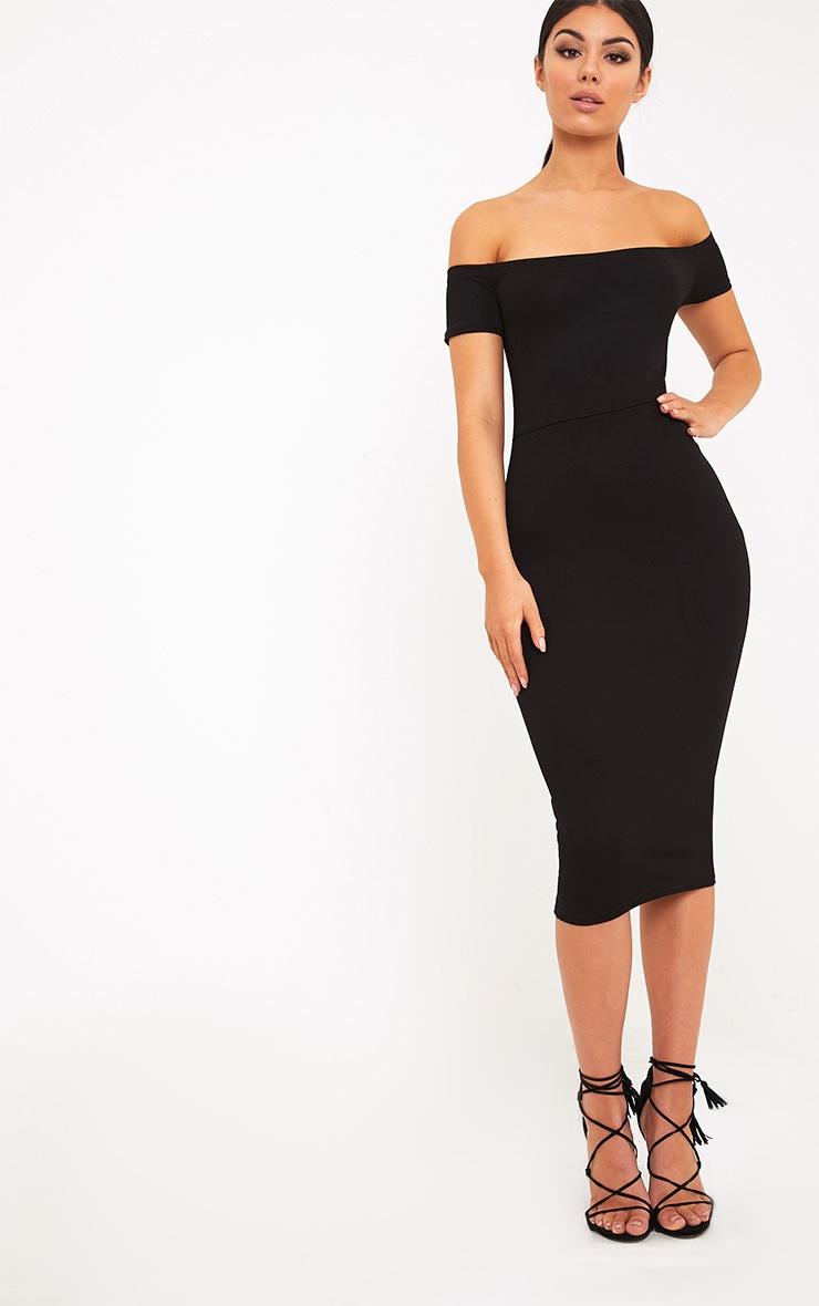 Aggie Black Lace Up Back Bardot Midi Dress 4